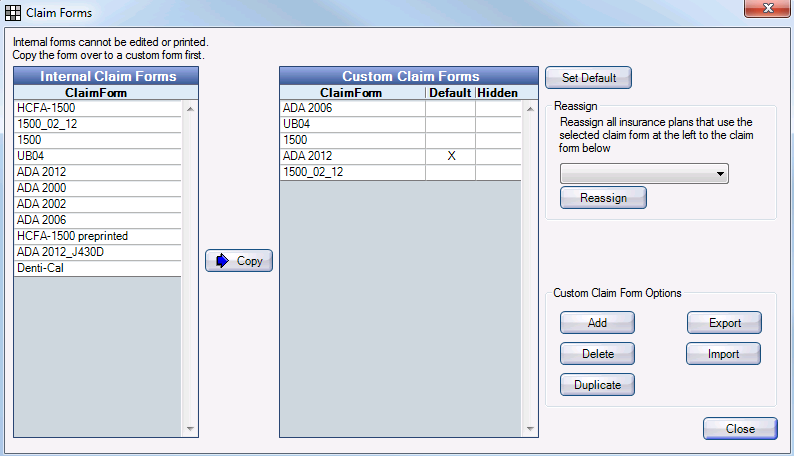 Open Dental Software Manual - Printed Claim Form Setup