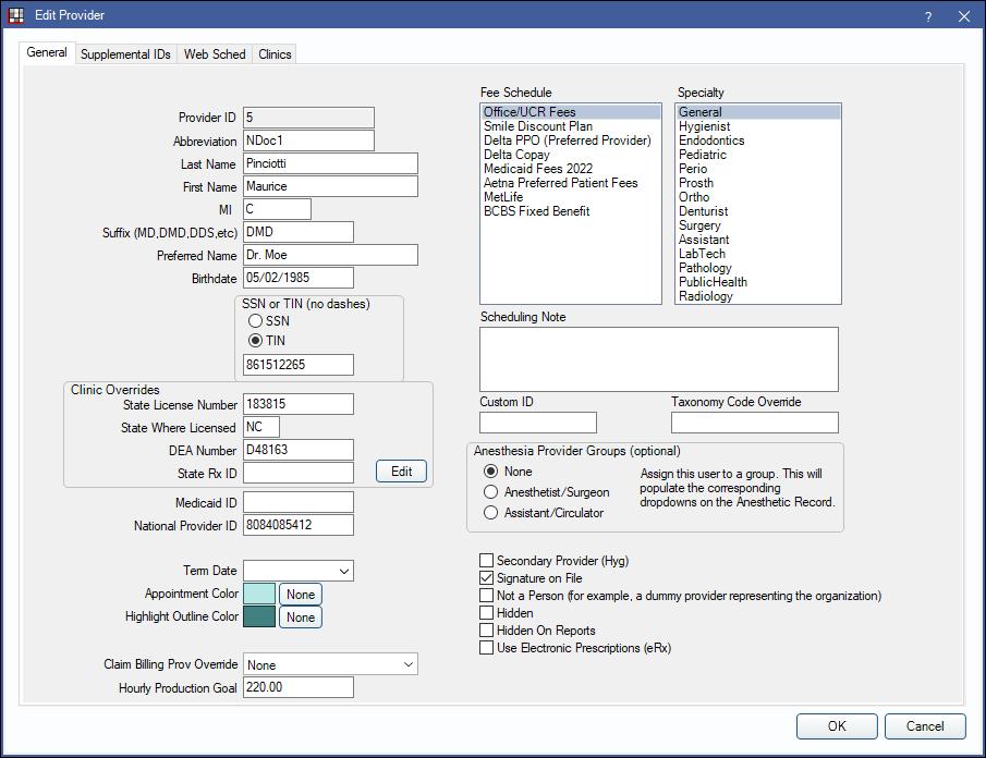 Open Dental Software - Provider