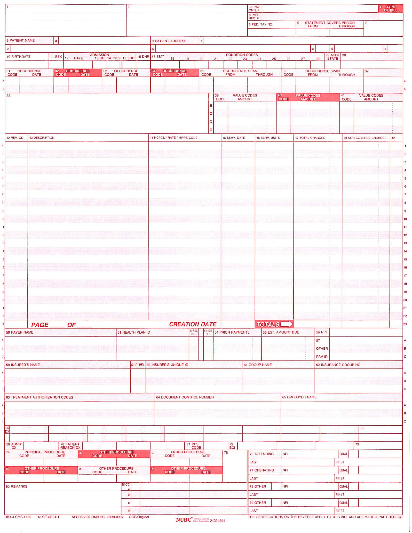UB04 Medical Form Ub on eob medical form, ada medical form, hcfa medical form,